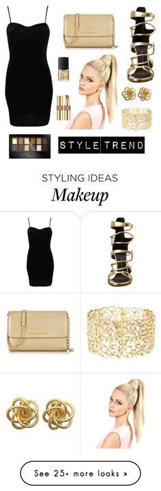"""Style trend: Black and Gold!!"" by maiaahall on Polyvore featuring Giuseppe Zanotti, Michael Kors, Pilot, Charlotte Russe, NARS Cosmetics, Yves Saint Laurent and Maybelline"
