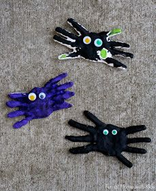 Fun at Home with Kids: DIY Kid Halloween Keepsake: Handprint Spiders