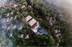 Morning aerial view at Hanging Gardens Ubud, Bali at 5 star hotel: Hanging Gardens Ubud Hotel. This hotel's address is: Desa Buahan, Payangan, Bali Ubud Bali 80571 and have 38 rooms Park Resorts, Hotels And Resorts, Luxury Hotels, Ubud Bali Hotels, Hanging Gardens Bali, Jungle Resort, Bali Resort, Resort Villa, Kuta Beach