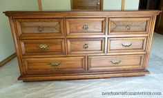 How To Paint Furniture - Stained oak dresser before paint ~ Newton Custom Interiors