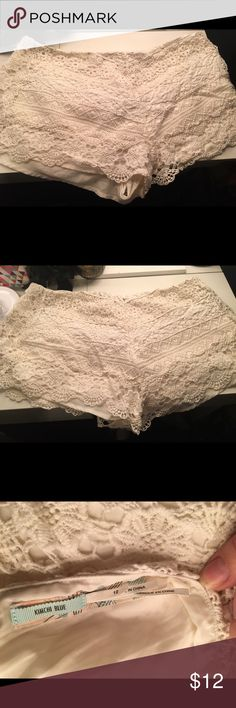 Urban Outfitters Kimchi Blue White Lace Shorts UO kimchi blue white lace shorts. Worn once, in perfect condition. Women's size 12 Urban Outfitters Shorts