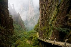 The Suspended Stairs of Huangshan, China.