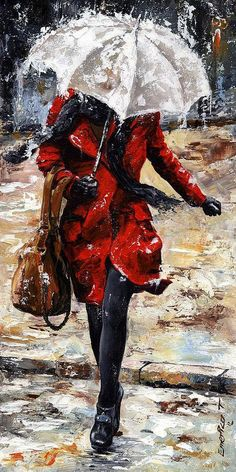Rainy Day - Woman Of New York 10 Painting by Emerico Imre Toth - Rainy Day - Woman Of New York 10 Fine Art Prints and Posters for Sale Art And Illustration, Art Amour, Art Sur Toile, Umbrella Art, Umbrella Painting, Clear Umbrella, White Umbrella, Ouvrages D'art, Fine Art