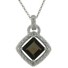 Dolce Giavonna Sterling Silver Smokey Quartz and Diamond Accent Square Necklace - Overstock™ Shopping - Top Rated Dolce Giavonna Gemstone Necklaces