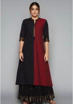 Utsa by Westside Black Printed Skirt Salwar Designs, Kurti Neck Designs, Kurta Designs Women, Blouse Designs, Indian Fashion Trends, India Fashion, Indian Dresses, Indian Outfits, Salwar Pattern