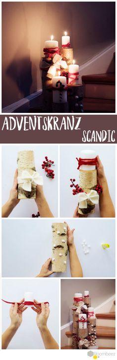 Birkenholz und schlichtes Design - das ist der Scandic Trend! Auf Roombeez findest du noch mehr DIYs für die Adventszeit.