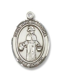 """Made in America! St. Nino De Atocha Sterling Silver Medal with 18"""" Sterling Chain Patron Saint of Pilgrims & Prisoners BM001"""