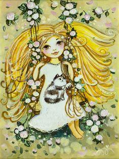 Девочка на качелях 2 картины картина репродукции для интерьера репродукция картины для интерьера картины для детской постеры для детской дети коты радость детство мыльные пузыри