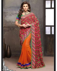 Buy Orange Anamika Designer Pallu with embroidered border at happydeal18.com, India's biggest shopping store
