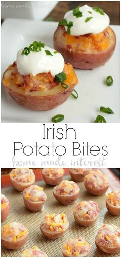 These Irish Potato Bites are little potatoes stuffed with cheese and corned beef, a simple but tasty appetizer recipe for St. These mini potato skins are also a great game day recipe for March Madness or the Super Bowl. Irish Appetizers, St Patrick's Day Appetizers, Potato Appetizers, Appetizer Recipes, Super Bowl Appetizers, Potato Skins Appetizer, Super Bowl Foods, Appetizers Superbowl, Super Bowl Dips