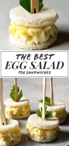 A classic egg salad sandwich can be found on many afternoon tea menus. Make this… A classic egg salad sandwich can be found on many afternoon tea menus. Make this simple yet delicious egg salad tea sandwich for your next tea party. Mini Sandwiches, Tea Party Sandwiches Recipes, Egg Salad Sandwiches, Finger Sandwiches, Bridal Shower Sandwiches, Tea Party Recipes, Appetizer Sandwiches, Breakfast Sandwiches, Tea Party Menu