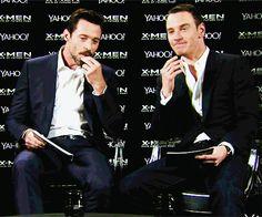Michael Fassbender and Hugh Jackman thinking hard...
