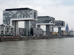 The three 'crane buildings' on the revamped dockland. Throughout The World, Cologne, New York Skyline, Skyscraper, Multi Story Building, Germany, Exterior, Architecture, City