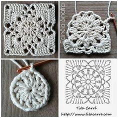 Diy Crafts - -Sunset Flower Square Motif Crochet Beautiful romantic squares to create new, brilliant projects. Crochet Collar Pattern, Crochet Motif Patterns, Granny Square Crochet Pattern, Crochet Diagram, Crochet Chart, Crochet Squares, Love Crochet, Crochet Doilies, Crochet Flowers