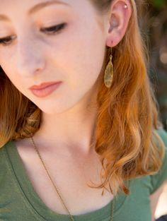 Brass Leaf Earrings Delicate Leaf Jewelry Boho by LeoandLovey