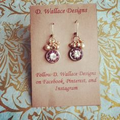 dwallacedesigns: Vintage crystal set on mother of button and decorated with a vintage pearl. $28 on Etsy.