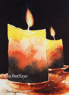 Original Watercolor Painting of Candles by RoseAnn Hayes, available in Etsy shop Christmas Paintings, Christmas Art, Watercolor Cards, Watercolour Painting, Candle Drawing, 5th Grade Art, Watercolour Tutorials, Watercolor Landscape, Fine Art Gallery