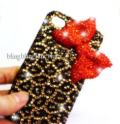 iPhone 5 case - iPhone 4 case - Bow iPhone 4 Case - Red Diamond Bow iPhone 5 case Unique iphone 4s case leopard iphone 4 cover