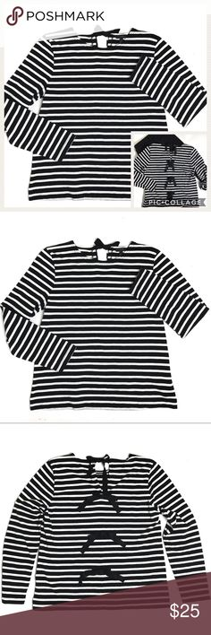 J. Crew Black & White Stripe T-Shirt w/Back Bows Excellent condition J. Crew long sleeved t-shirt with bow embellishments down the back. Bows have a bit of sparkle. The top bow unties and the others are stitched in place. Soft cotton, black and white stripe fabric. 100% cotton. J. Crew Tops Tees - Long Sleeve