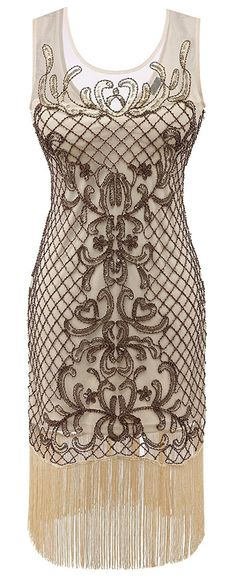 Amazon.com  Izacu Flocc® 1920s Gatsby Sequined Embellished Fringed Flapper  Dress  Clothing aadb0c885
