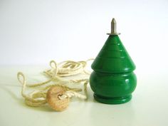Wood Spinning Top Vintage Toy Bright Green by RollingHillsVintage