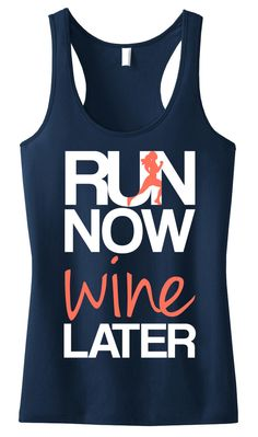 RUN Now WINE Later Tank Top Navy with Coral #Running #Workout Tank -- By #NobullWomanApparel, ON SALE for only $23.74! Click here to buy http://nobullwoman-apparel.com/collections/fitness-tanks-workout-shirts/products/run-now-wine-later-tank-top-navy