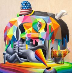 Okuda San Miguel's Vibrant Mural's Jump Off Walls And Take On The Form Of Surreal Sculptures. Murals Street Art, 3d Street Art, Street Art Graffiti, Street Artists, Amazing Street Art, Fantastic Art, Illustrations, Illustration Art, Collages