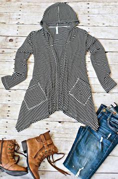 Haydee Striped Cardigan-Black