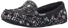 BOBS from Skechers Women's Bobs Cozy JR-Sole Mate Flat, Black Woven, 7 M US. Slipper featuring logoed counter and rubber indoor/outdoor sole. Fuzzy lining. Faux Fur.