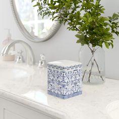 Mistana™ Lennon Porcelain Cotton Container & Reviews | Wayfair Marble Bathroom Accessories, Bath Accessories, Shower Storage, Jar Storage, Bathroom Staging, Soap Pump, Chinese Ceramics, Natural Home Decor, Tissue Box Covers