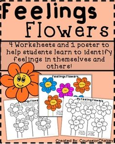4 Worksheets And 1 Poster To Help Students Identify Feelings In Themselves Others
