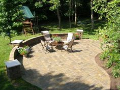 patio chairs, pavers, plants, Back Yards, Patio, Curves