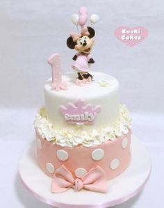 Ideas baby shower ideas for girs food desserts white chocolate for 2019 Mickey Mouse Clubhouse Cake, Minnie Mouse Cookies, Minnie Mouse Birthday Cakes, Bolo Minnie, Minnie Mouse Cake, 1st Year Cake, 1st Birthday Cake For Girls, Baby Girl Cakes, Cake Pictures
