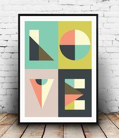 Love print Geometric print Word print Love art Type by Wallzilla
