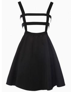 PrettyGuide Women Grid Cut Out High-waisted Shoulder-straps Dress A line Skirt