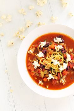 Minestrone Zucchini Noodle Soup with Parmesan-Rosemary Popcorn