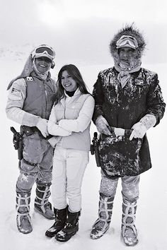 Behind the scenes on The Empire Strikes Back (1980). Mark Hamill, Carrie Fisher and Harrison Ford.