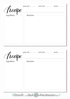 Free Recipe Card Download www.blackandwhiteobsession.com