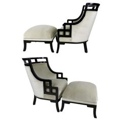 "Pair of ""Wallis Simpson"" Lounge Chairs and Ottomans by Jay Spectre"