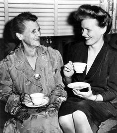 Frances Farmer at home in Seattle with her mother, Lillian Farmer, after Frances' return from the hospital.  Her mother would ultimately have her re-committed for several years.
