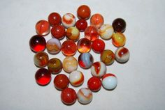 Old Vintage GLASS MARBLES Lot red amber orange by NostalgicSalvage, $12.00