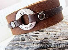Men's Leather Cuff Bracelet With Hand Stamped Washer - Stainless Steel, Brown Or Black - Perfect Gift For Men, Father, Dad, Husband on Etsy, $40.00