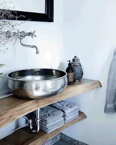 Stainless steel sink. Bathroom decor. Bathroom design.