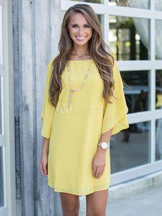 Yellow Shift Dress Chiffon Jewel Neck Ruffled Half Sleeve Oversized Summer Dress