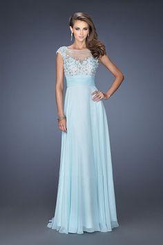 Wonderful Scoop Neckline Mesh Illusion Open Back Beaded Prom Dresses