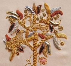 detail from 'tree of Life' - gold work embroidery