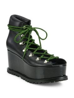 Leather Lace-Up Platform Sandals