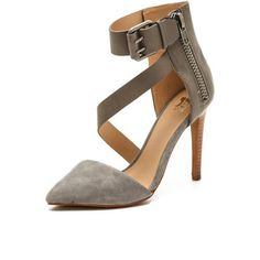Joe'S Jeans Ali Ankle Strap D'Orsay Pumps - Stucco Grey