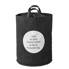 """Bloomingville Laundry Bag Black """"I Wish."""" with Carry Handles Clothes Basket, Black Canvas, Reusable Tote Bags, Fabric, Accessories, Laundry Room, Laundry Bags, Laundry Baskets, Design"""
