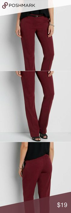 the smart belted bootcut pant in rich merlot smooth material includes skinny faux leather belt belt has 5 notches and is removable functional front pockets faux back pockets one button, two clip, and zipper closure 34 1/2 inch inseam Maurices Pants Boot Cut & Flare